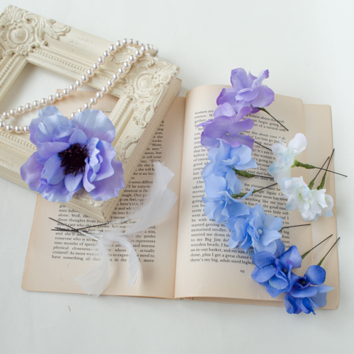 ブルーパープル結婚式髪飾りアネモネフラワーピック