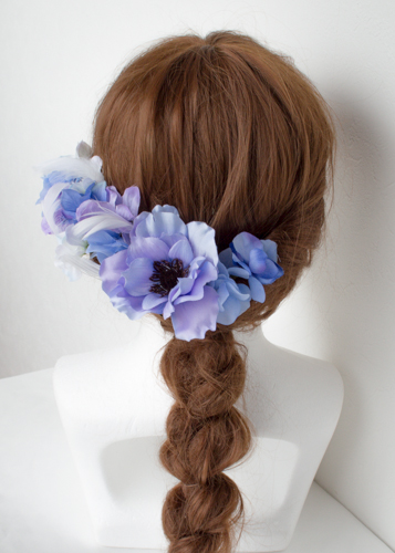 ブルーパープル結婚式髪飾りアネモネヘッドドレス3