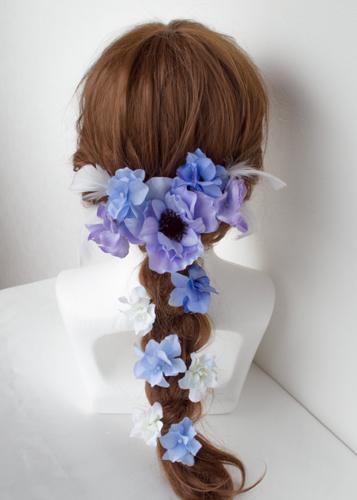 ブルーパープル結婚式髪飾りアネモネヘッドドレス4