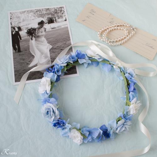 【オーダーメイド】水色のウェディングドレスに合わせたシンデレラカラーの花冠