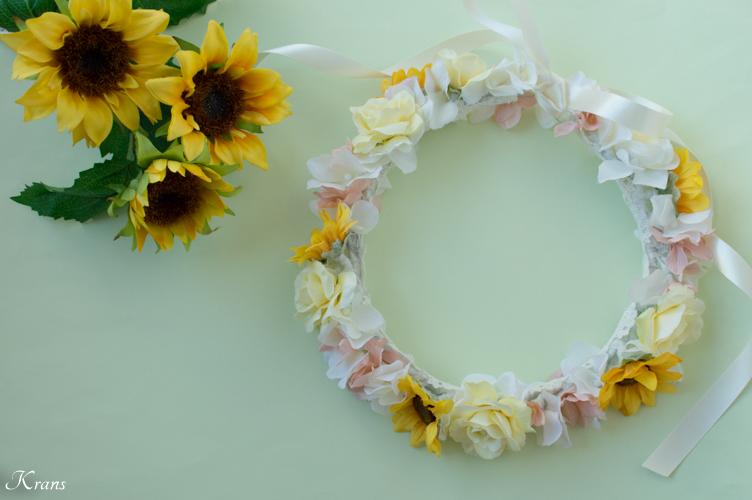 1歳の誕生日プレゼント撮影用ひまわりの花かんむり3