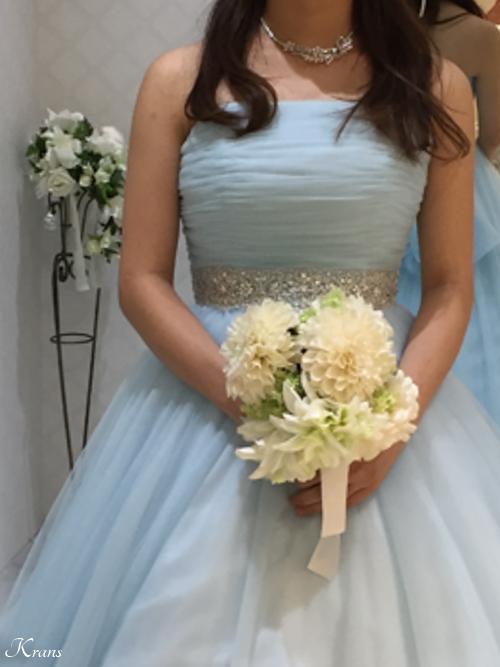 水色カラードレス結婚式花冠
