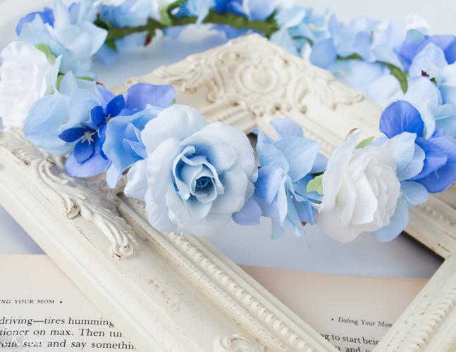 シンデレラブルー結婚式水色花かんむり2