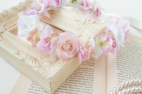 1歳お誕生日用ピンクの花冠3