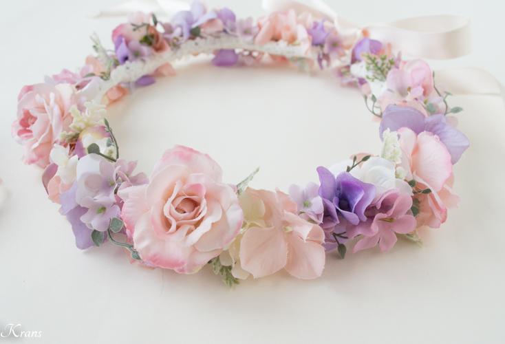 結婚式ピンクバラ花冠ニコルドレス