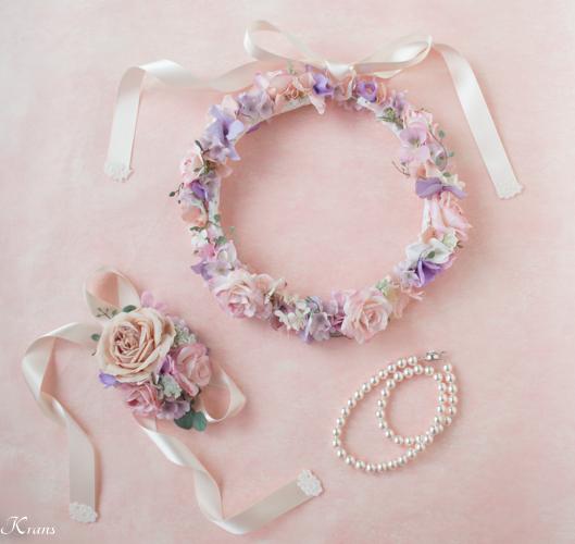 結婚式ピンクバラ花冠ニコルドレス2