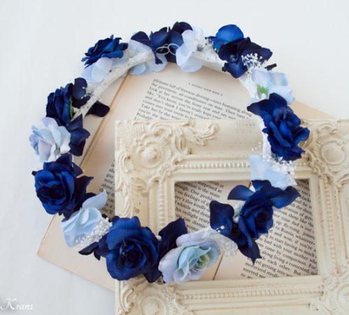 ネイビードレスにロイヤルブルーかすみ草結婚式花冠2
