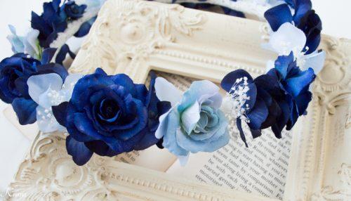 ネイビードレスにロイヤルブルーかすみ草結婚式花冠3