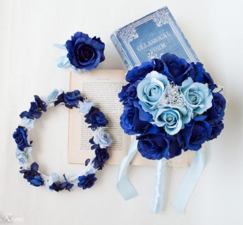 ネイビードレスにロイヤルブルーかすみ草結婚式花冠5