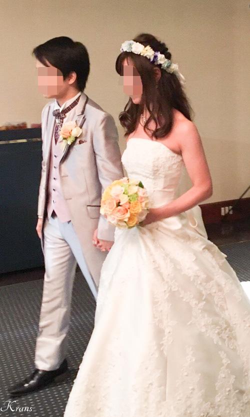結婚式青水色白花冠Krans口コミ3
