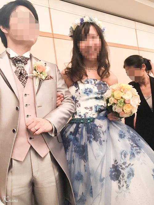 結婚式青水色白花冠Krans口コミ2