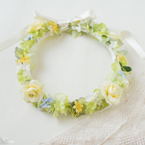 ハッピーグリーン&イエローのウェディング花冠