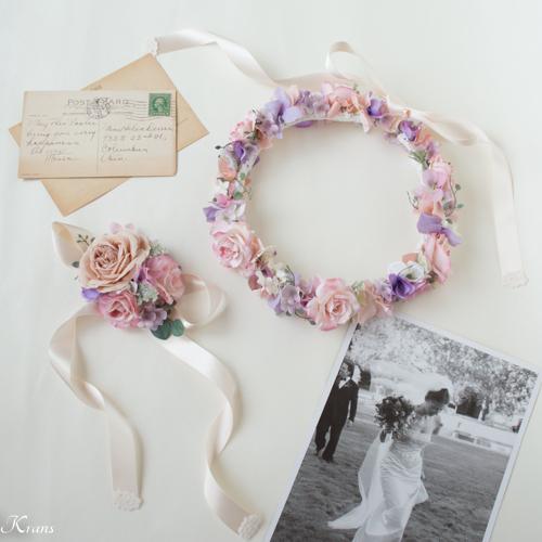 マカロンピンクのウェディング花冠