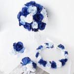 青いブーケ花冠ブートニア結婚式セット