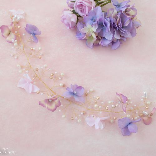 小枝ヘアアクセサリー結婚式あじさいと針金ヘッドドレス2
