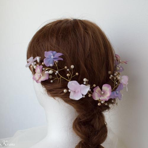 小枝ヘアアクセサリー結婚式あじさいと針金ヘッドドレス5