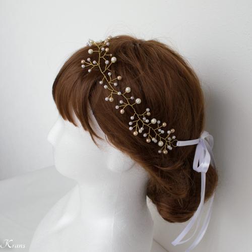 小枝ヘアアクセサリー花嫁花冠カチューシャスタイル2