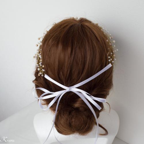 小枝ヘアアクセサリー花嫁花冠カチューシャスタイル3