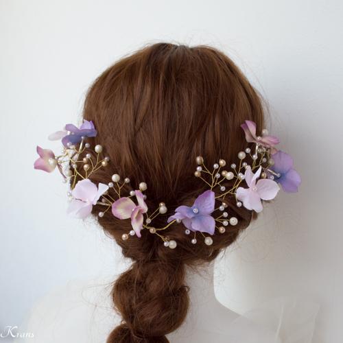 小枝ヘアアクセサリー結婚式あじさいと針金ヘッドドレス4
