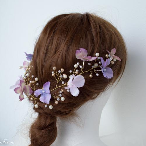 小枝ヘアアクセサリー結婚式あじさいと針金ヘッドドレス6