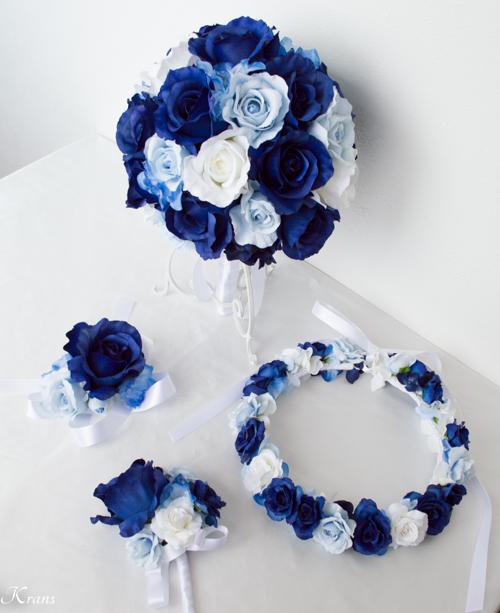 ダークブルー花かんむり大人可愛いウェディングセット