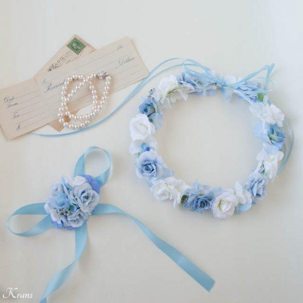 結婚式淡いブルーの花冠とリストレット1