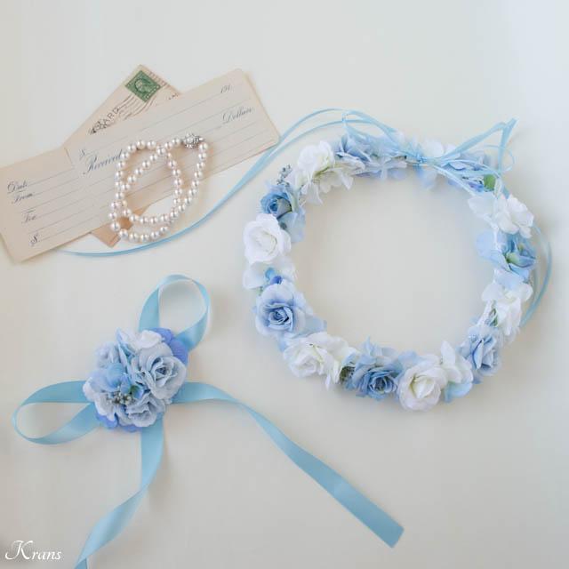 【オーダーメイド】淡いブルーグリーンのドレスに合わせたライトブルー花冠