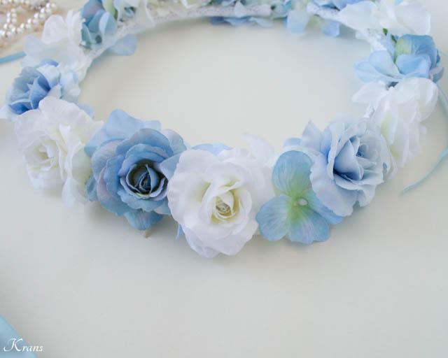 結婚式淡いブルーの花冠とリストレット2