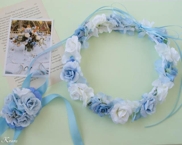 結婚式淡いブルーの花冠とリストレット6