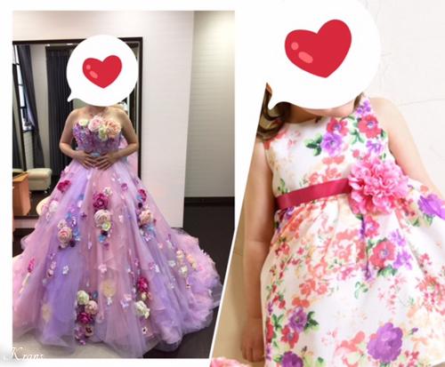 親子おそろいの花冠結婚式ドレス