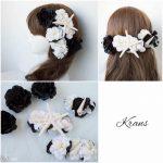 【オーダーメイド】黒白のお花とヒトデ貝のウェディング髪飾り