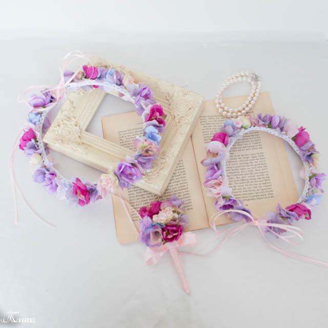 親子おそろいの結婚式花冠1