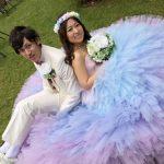 結婚式花冠虹色