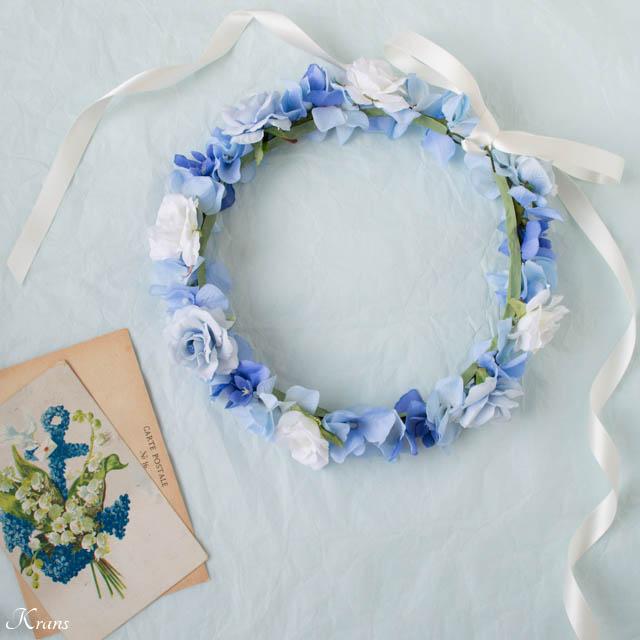 結婚式用ブルー花冠1