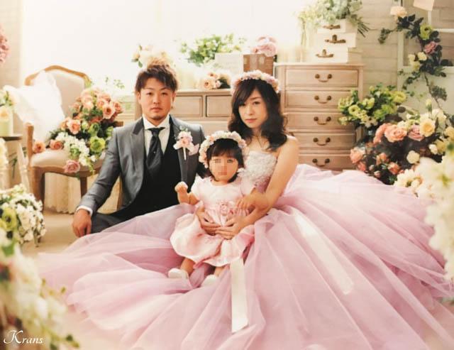 親子ペアウェディングピンク花冠1