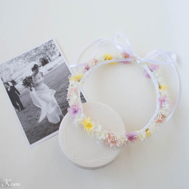 ピンクイエローグラデーションドレスに合わせた花冠2