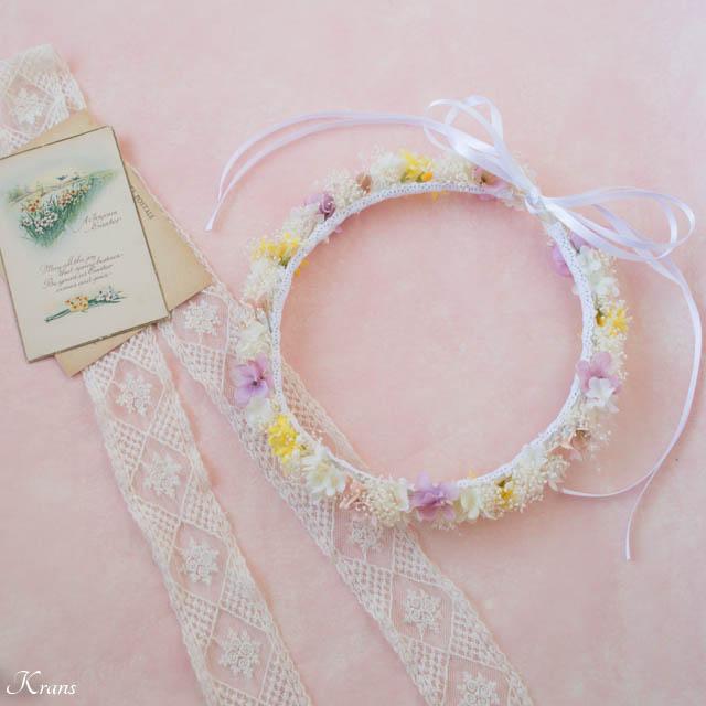ピンクイエローグラデーションドレスに合わせた花冠6