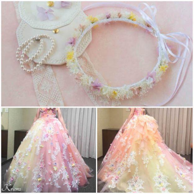 ピンクイエローグラデーションドレスに合わせた花冠