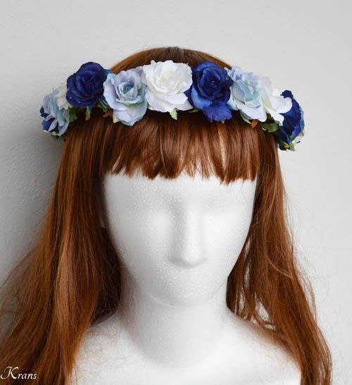 青いグラデションの美しいウェディング花冠1