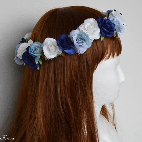青いグラデションの美しいウェディング花冠2