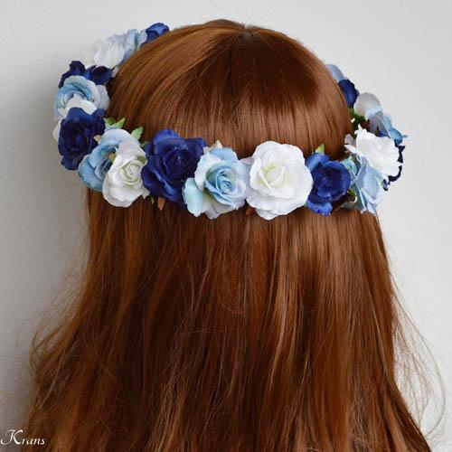 青いグラデションの美しいウェディング花冠3