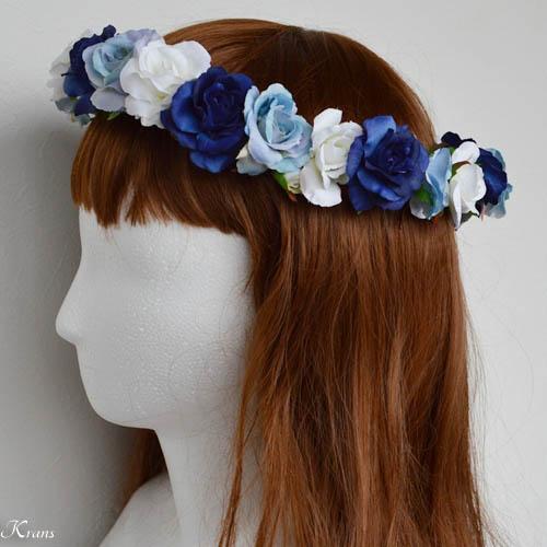 青いグラデションの美しいウェディング花冠4
