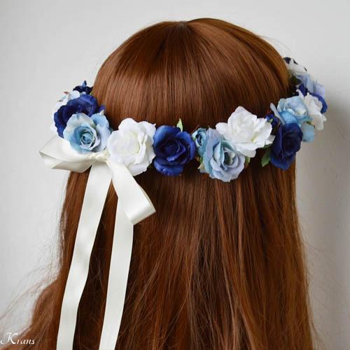 青いグラデションの美しいウェディング花冠5