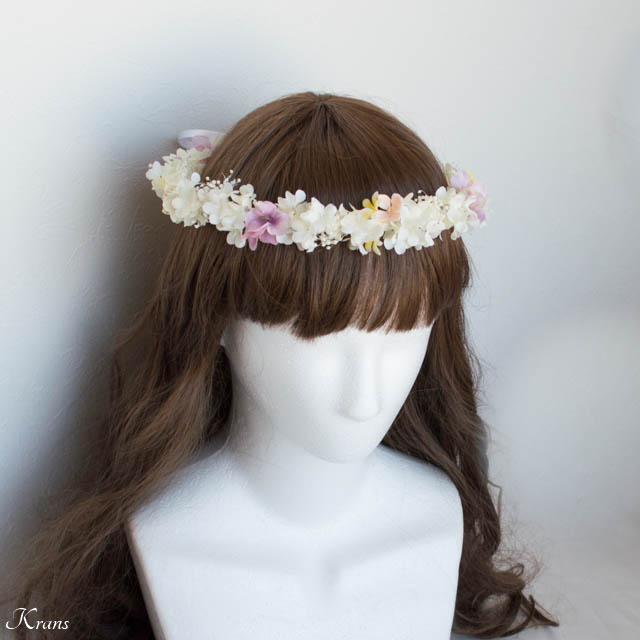 プリザーブドフラワーのかすみ草を使ったシャマローイエロードレスに合わせた白い花冠1