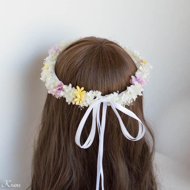 プリザーブドフラワーのかすみ草を使ったシャマローイエロードレスに合わせた白い花冠2