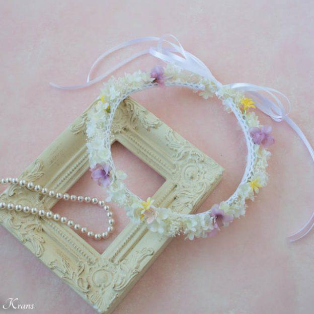 プリザーブドフラワーのかすみ草を使ったシャマローイエロードレスに合わせた白い花冠4