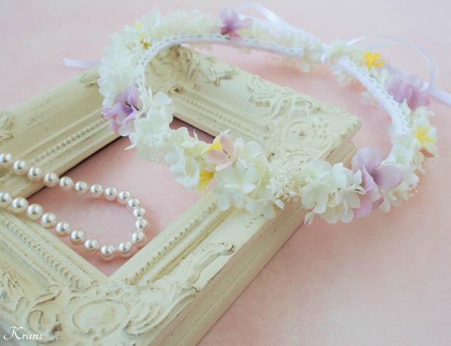 プリザーブドフラワーのかすみ草を使ったシャマローイエロードレスに合わせた白い花冠5