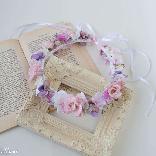 マリエルピンクのウェディング花冠