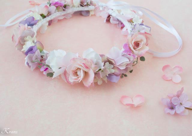 マリエルピンクの結婚式用花冠7