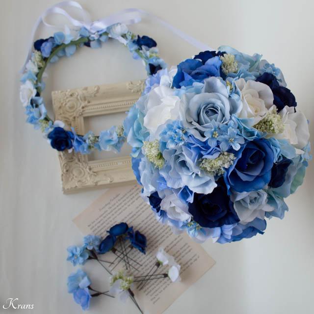 ブルークラッチブーケとブルーの花かんむり3
